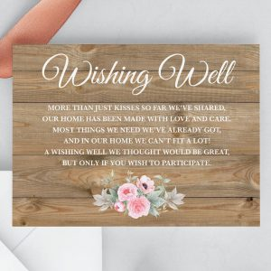 Rustic Pink Peonies Wishing Well Card