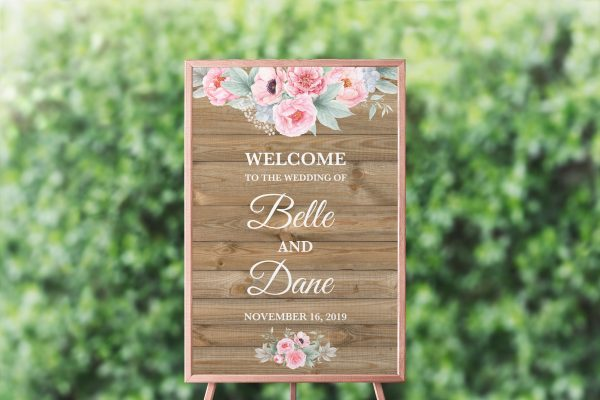 Rustic Pink Peonies Welcome Sign
