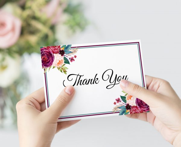 Berry and Blush Blooms Thank You Card