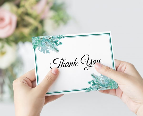 Frosted Succulents Thank You Card