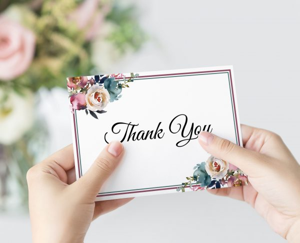 Misty Rose Thank You Card