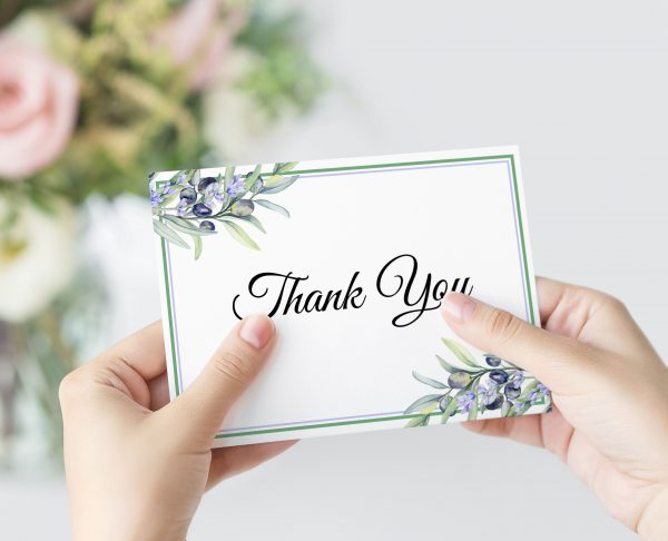 Olive and Lavender Thank You Card