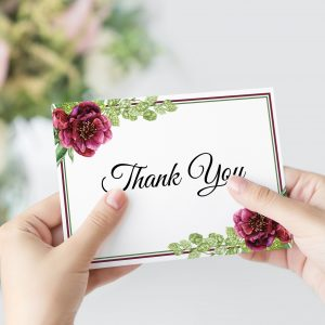 Peonies and Green Hops Thank You Card