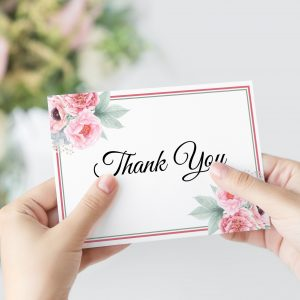 Pink Peonies Thank You Card