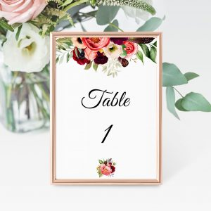 Autumn Blooms Table Numbers
