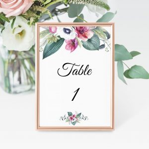 Anemone and Eucalyptus Table Numbers