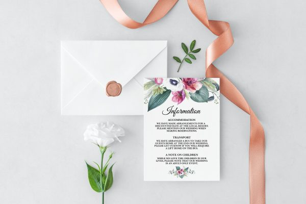 Anemone and Eucalyptus Information Cards