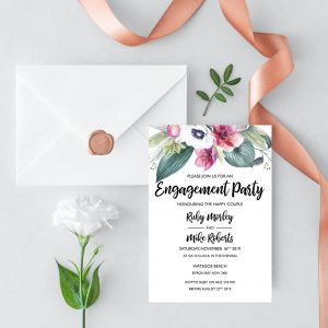 Anemone and Eucalyptus Engagement Invitation