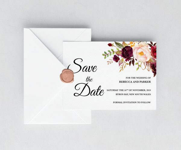 Burgundy Blooms Save The Date Cards