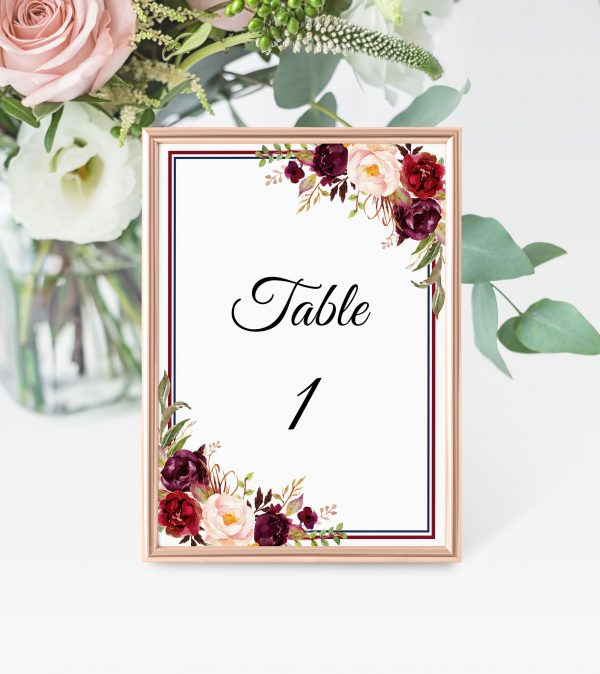 Burgundy Blooms Table Numbers