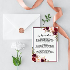 Burgundy Blooms Information Cards