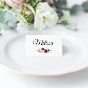 Burgundy Blooms Place Cards
