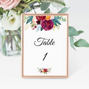 Berry and Blush Blooms Table Numbers