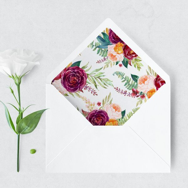 Berry and Blush Blooms Envelope Liner