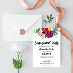 Berry and Blush Blooms Engagement Invitation