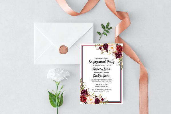 Burgundy Blooms Engagement Invitation