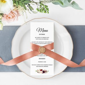 Burgundy Blooms Menu Cards