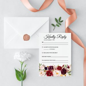 Burgundy Blooms RSVP Card