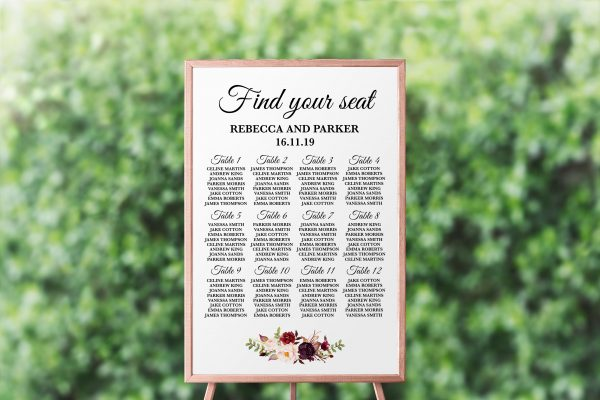 Burgundy Blooms Seating Chart