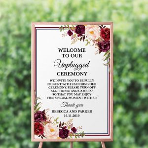 Burgundy Blooms Unplugged Sign