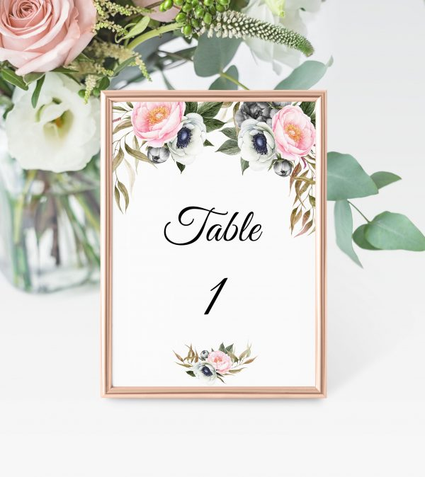 Dusty Blooms Table Numbers