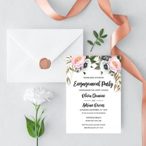 Dusty Blooms Engagement Invitation