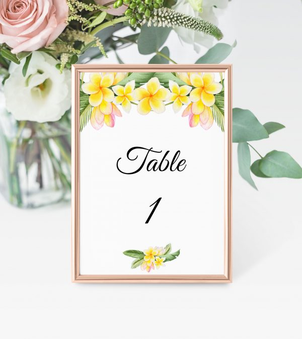 Frangipani Bliss Table Numbers