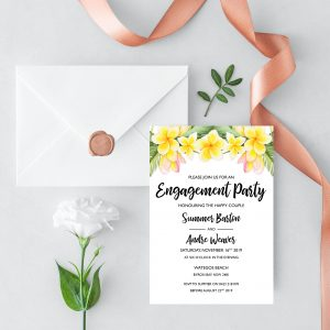 Frangipani Bliss Engagement Invitation