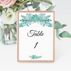 Frosted Succulents Table Numbers