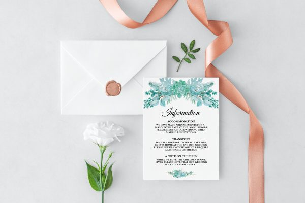 Frosted Succulents Information Cards