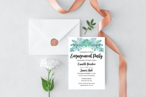 Frosted Succulents Engagement Invitation