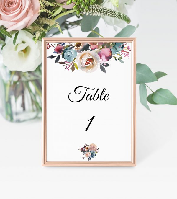 Misty Rose Table Numbers