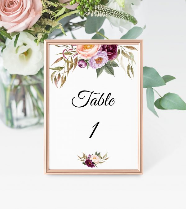 Marsala Blooms Table Numbers