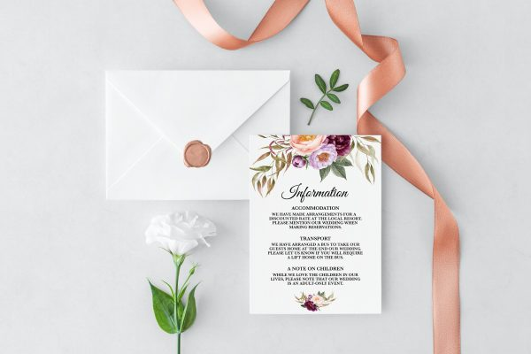 Marsala Blooms Information Cards
