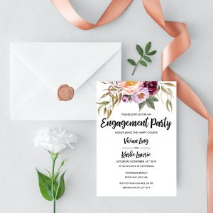 Marsala Blooms Engagement Invitation
