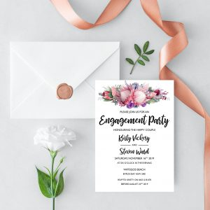Native Florals Engagement Invitation