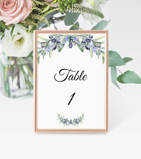 Olive and Lavender Table Numbers