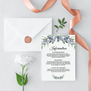 Olive and Lavender Information Cards