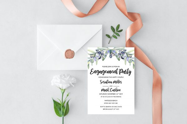 Olive and Lavender Engagement Invitation