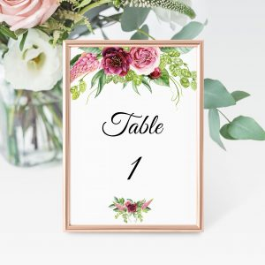 Peonies and Green Hops Table Numbers