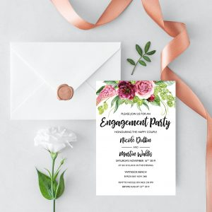 Peonies and Green Hops Engagement Invitation