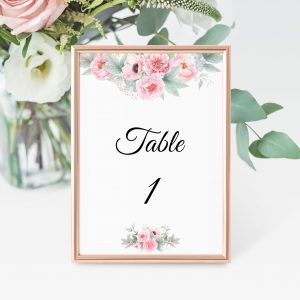 Pink Peonies Table Numbers