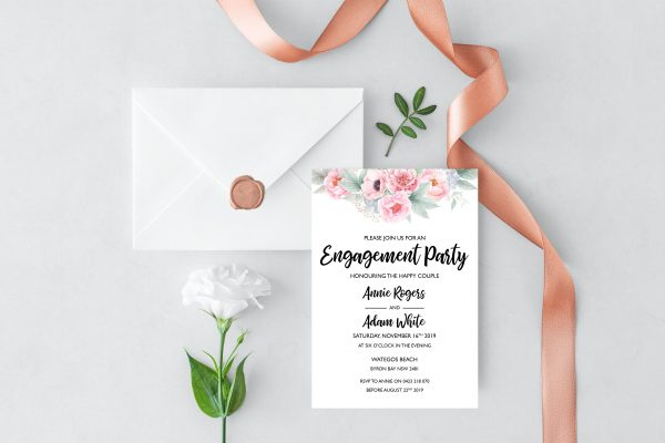 Pink Peonies Engagement Invitation