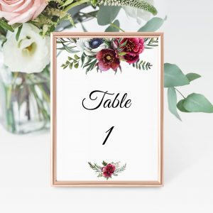 Ruby Helleborus Table Numbers