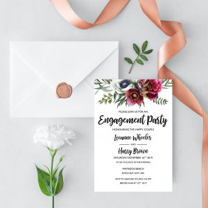 Ruby Helleborus Engagement Invitation