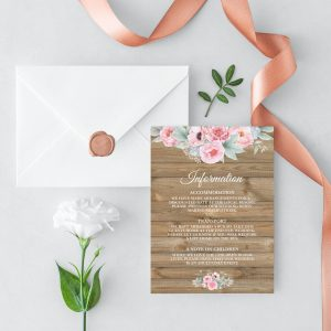 Rustic Pink Peonies Information Cards