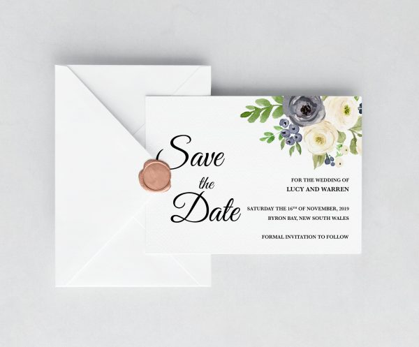 Winter Blooms Save The Date Cards