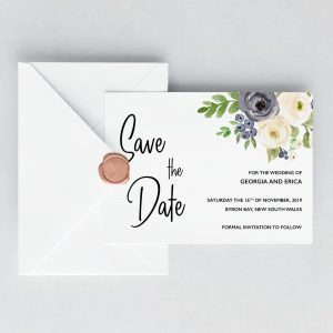 Indigo Blossoms Save the Date Cards