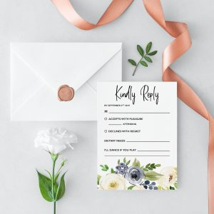 Indigo Blossoms RSVP Cards