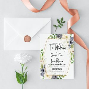 Indigo Blossoms Wedding Invitation